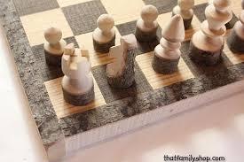 Handmade Wooden Board Games Rustic Chess Set Log Wooden Chess Board Handmade Chess Set 12