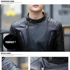 mens leather jacket 2016 fashion mens diagonal zipper slim black pu leather jackets men er biker jacket