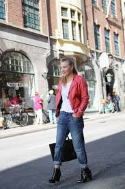 women s red leather biker jacket white crew neck t shirt blue boyfriend jeans black leather ankle boots women s fashion