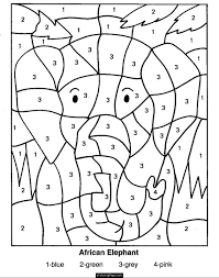 Color By Numbers Elephant Coloring Pages