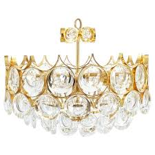 palwa pair of petite gold brass glass chandeliers lamps refurbished 1960