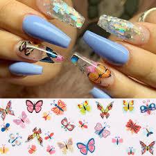 <b>10Pcs</b>/set Butterfly <b>Colorful Nail Foils</b> Flower <b>Nail</b> Art Transfer ...