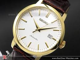 seiko automatic gold plated leather strap mens watch srpa28k1 srpa28 watches seiko red deer watches