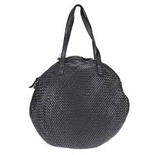 round bag in vintage effect woven leather passa allo zoom hover to zoom