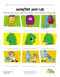 Monsters, Dinosaurs and Robots Story Sequence Worksheet | Language ...