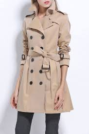 cotton skirted trench coat light khaki m