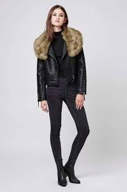 top faux fur shawl biker jacket