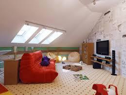 Low Ceiling Attic Bedroom Small Attic Room Design Ideas White Black Striped Blanket Cone Red