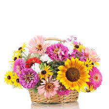 bouquet of flowers in wooden basket
