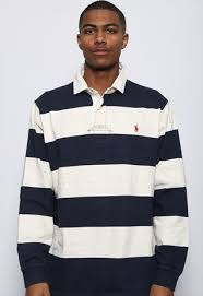 vintage polo ralph lauren striped rugby shirt blue and white