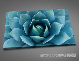 large wall art blue agave flower canvas print stretched on deep 3cm frame ready on large blue flower wall art with large wall art blue agave flower canvas print stretched on deep