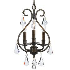 crystorama ashton 3 light hand cut crystal bronze mini chandelier