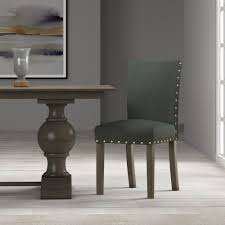 classic parsons dining chair with nailhead trim dark charcoal set of 2