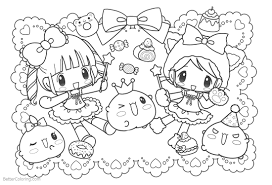 Cute Food Coloring Pages Girls And Candies Free Printable Coloring