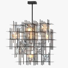 wired custom lighting hatch chandelier 3d model max obj mtl 3ds fbx 1