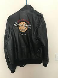 mens black hard rock cafe tokyo save the planet leather jacket size large