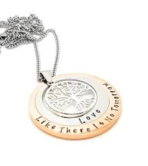personalised jewellery personalised necklace family necklace layered family names tree of life pendant silver rose gold two circle custom