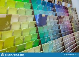 Colour Sample Chart With Various Colors And Shades Stock