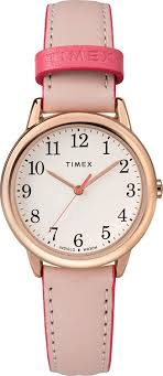 timex tw2r62800 women s rose gold tone easy reader pink leather band watch 0