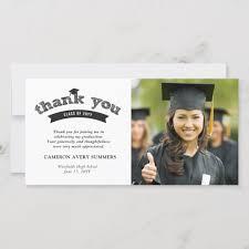 Graduation Black Sketch Grad Thank You Photo Card Zazzle Com