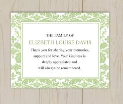 Funeral Cards Template Damask Funeral Thank You Card Printable Digital File 13