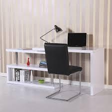 march homcom white desk bookshelf high gloss
