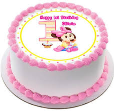 Baby Minnie Mouse 1st Birthday Edible Cake Topper Cupcake Toppers