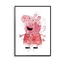 peppa pig prints peppa pig watercolor poster playroom wall art kids room