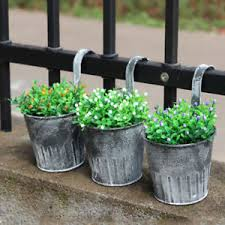 Image is loading VINTAGE-WALL-HANGING-FLOWER-POT-GARDEN-FENCE-BALCONY-