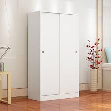 simple and modern new solid wood sliding door wardrobe storage cabinet large capacity sliding door wardrobe wardrobe 2 doors