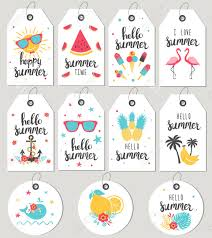 Summer Gift Tags Set Hello Summer Gift Tags And Cards Vector Illustration