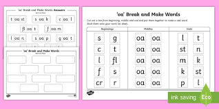 Split into 7 groups, the worksheets contain all 42 letter sounds. Words With Oa In Them Break And Make Worksheet