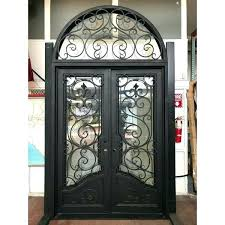 wrought iron entry doors double full arch s glass exterior