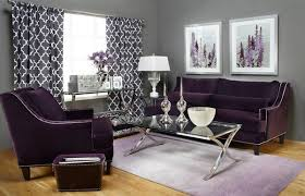 Catchy Living Room Designs with Purple Acc on Soft Lavender Purple Living  Room with Floral Wallpaper