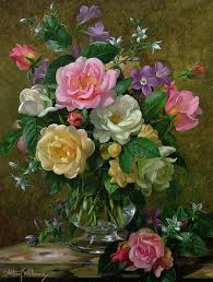 still life painting roses in a glass vase by albert williams