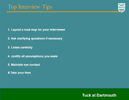 tuck at dartmouth consulting case interviews cracking the case layout a road map for your interviewer 2