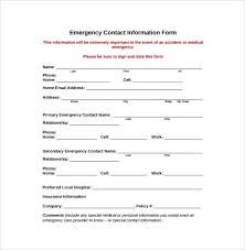 Emergency Contact Forms For Children Daycare Emergency Contact Form Luxury Free Template Information