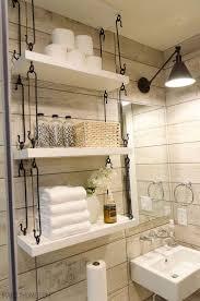 farmhouse bathroom hanging over toilet shelves