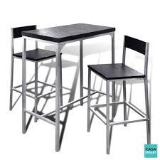 CASASMART - Ensemble table haute en acier + 2 chaises - pas cher ...