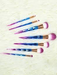 womens 7 pcs fiber ombre makeup brushes set blue makeup tools jryvjytvdocv