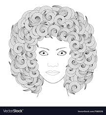 coloring book portrait woman with curly hair vector image
