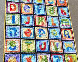 Handmade baby quilt | Etsy & Monster Alphabet Baby Quilt Adamdwight.com