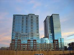 the 389 unit glass house is part of east west partners riverfront park development and will be complete spring 2007
