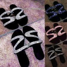 <b>Womens Summer</b> S Shape <b>Bling Rhinestone</b> Sandal Shoes Flat ...