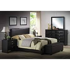 Amazon.com: Ireland King Faux Leather Bed, Black: Kitchen & Dining