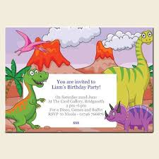 Dinosaur Birthday Invitation Personalised Kids Birthday Invitations Cartoon Dinosaurs