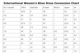 Women S Shoe Size To Kids Conversion Chart Female Shoe Size Conversion Chart Buurtsite Net