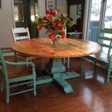 custom reclaimed wood round urn pedestal farmhouse table by wonderland woodworks custommade com