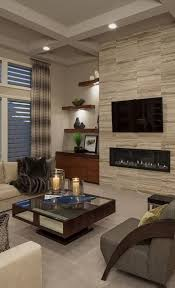 inspiration this is an example of a contemporary formal living room with white walls carpet a ribbon fireplace and a wall mounted tv houzz