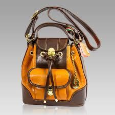 marino orlandi italian cognac leather sling purse bucket cross bag